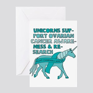 Unicorns Support Ovarian Cancer Awa Greeting Cards