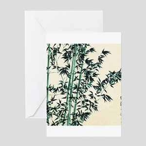 Oriental Green Bamboo Greeting Cards