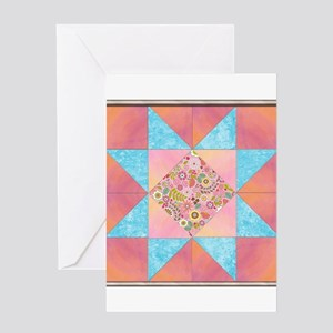 Sunset and Water Quilt Square Greeting Cards