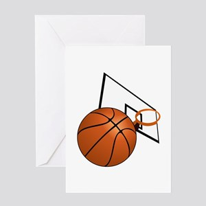 Basketball and Hoop Greeting Cards