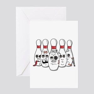 Battered Bowling Pins Greeting Cards