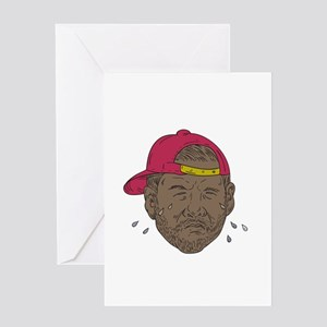 African-American Rapper Crying Drawing Greeting Ca