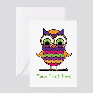 Customizable Whimsical Owl Greeting Card