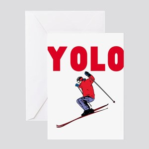 Yolo Skiing Greeting Card