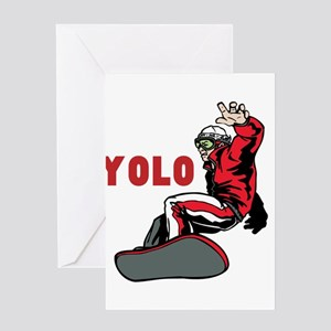 Yolo Snowboarding Greeting Card