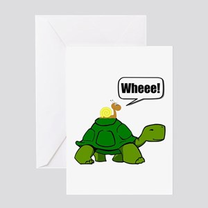 Snail Turtle Ride Greeting Cards