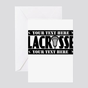 Lacrosse Blackout Personalize Greeting Cards
