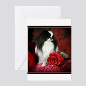 Japanese Chin and Rose Greeting Card