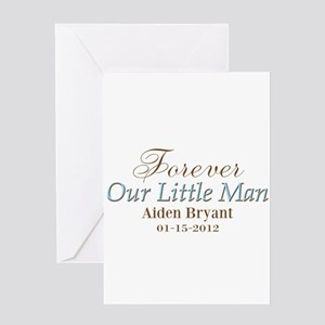 Blue Brown Personalizable Little Man Greeting Card