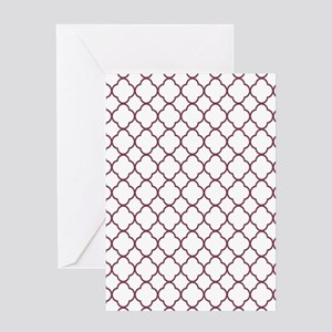 Purple, Mulberry: Quatrefoil Clover Greeting Card