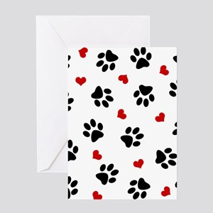 Paw Prints and Hearts Greeting Cards