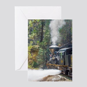 Steam Locomotive in the Forest Greeting Card
