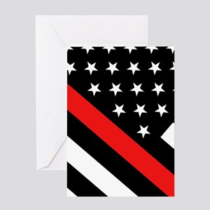 Firefighter Flag: Thin Red Line Greeting Card