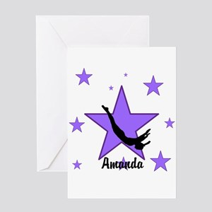 Purple Trampoline Star Greeting Cards