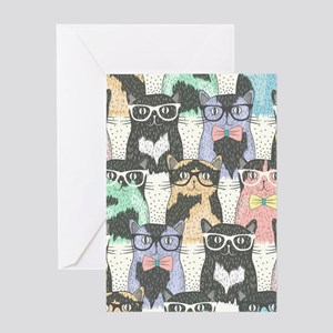 Hipster Cats Greeting Card