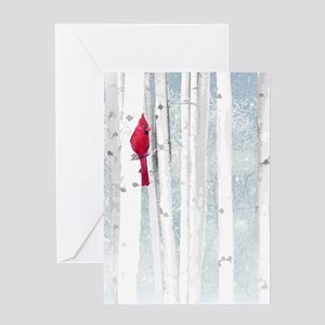 Red Cardinal Bird Snow Birch Trees Greeting Cards