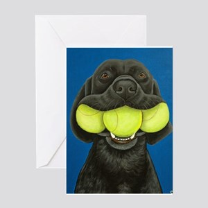 Black Lab with 3 tennis balls Greeting Card