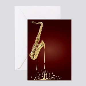 Melting Saxophone Music Greeting Cards