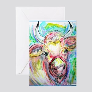 Cow, colorful, art, Greeting Card