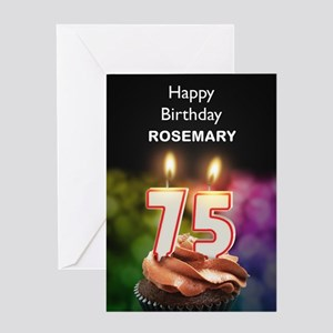 75th Birthday, Add A Name Cupcake Greeting Cards