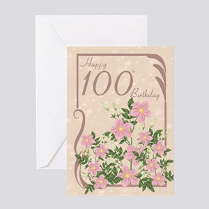 Floral 100th Birthday Greeting Card