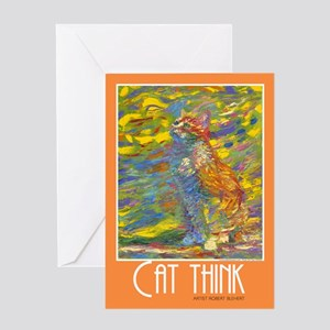Cat Think Artistic Greeting Card