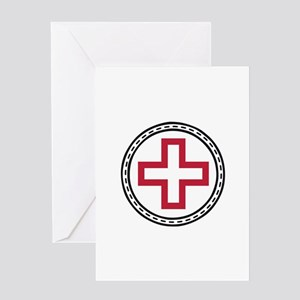 Circled Red Cross Greeting Cards