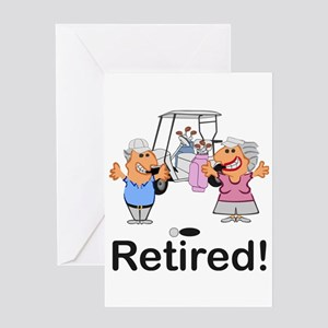 Funny Retirement Golf Couple Cartoo Greeting Cards