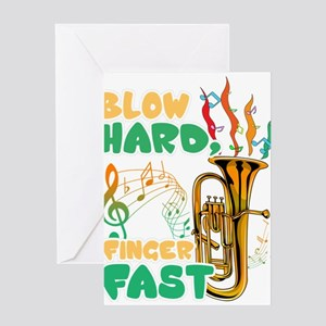 Blow Hard Finger Fast Funny Saxopho Greeting Cards