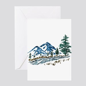 Sketch Mountain Scene Greeting Cards