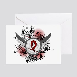 Grunge Ribbon Wings Amyloidosis Greeting Card