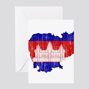 Cambodia Flag And Map Greeting Card