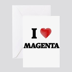 I Love Magenta Greeting Cards