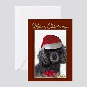 Christmas poodle Greeting Cards