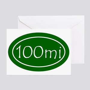 Green 100 mi Oval Greeting Card