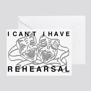REHEARSAL with Grey Drama Masks Greeting Card