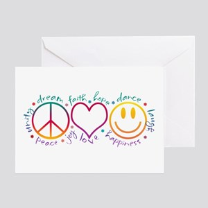 Peace Love Laugh Greeting Card