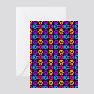Whimsical Cute Paws Pattern Greeting Cards
