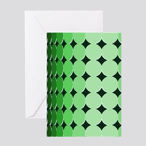 Optical Illusion Dots green Greeting Cards