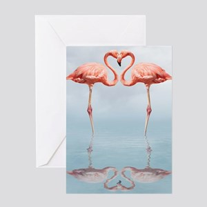 Pink Flamingos in Love Greeting Card