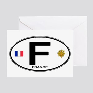 France Euro Oval Greeting Card