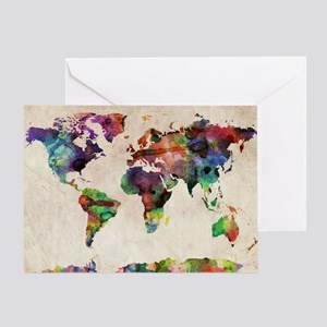 World Map Urban Watercolor 14x10 Greeting Card