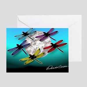 Dragonfly Night moon Greeting Card