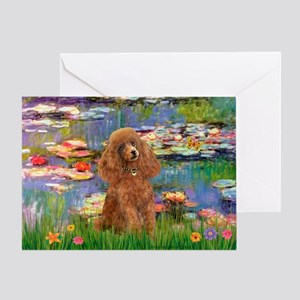 Lilies / Poodle (Apricot) Greeting Card