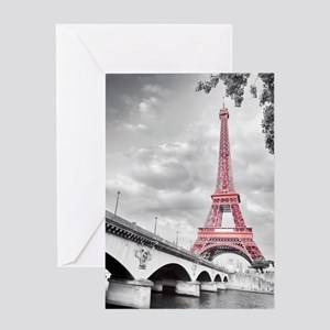 Pink Eiffel Tower Greeting Cards