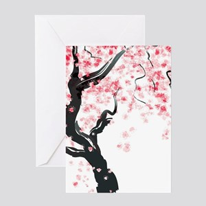 Japanese Cherry Tree Greeting Cards