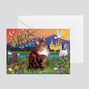 Maine Coon in Fantasy Land Greeting Card