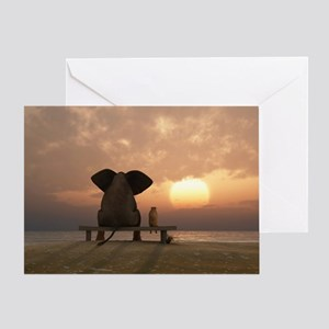 Elephant and Dog Friends Greeting Card