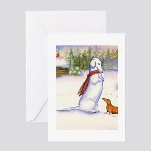 Red Snow Dachshund Greeting Card