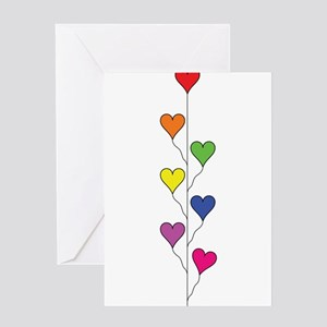 Seven Rainbow Colored Heart Balloons - Vertical Gr